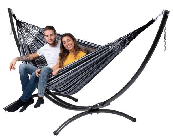 Hængekøje med Stativ til 2 personer Arc & Comfort Black White