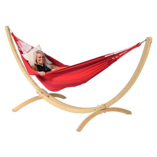 Hængekøje med Stativ til 1 person Wood & Dream Red