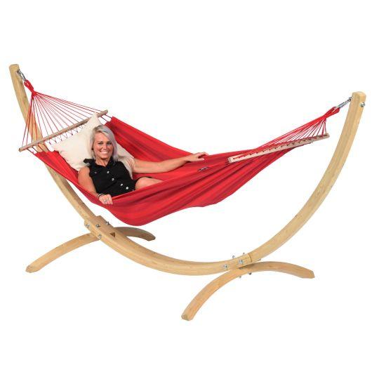 Hængekøje med Stativ til 1 person Wood & Relax Red