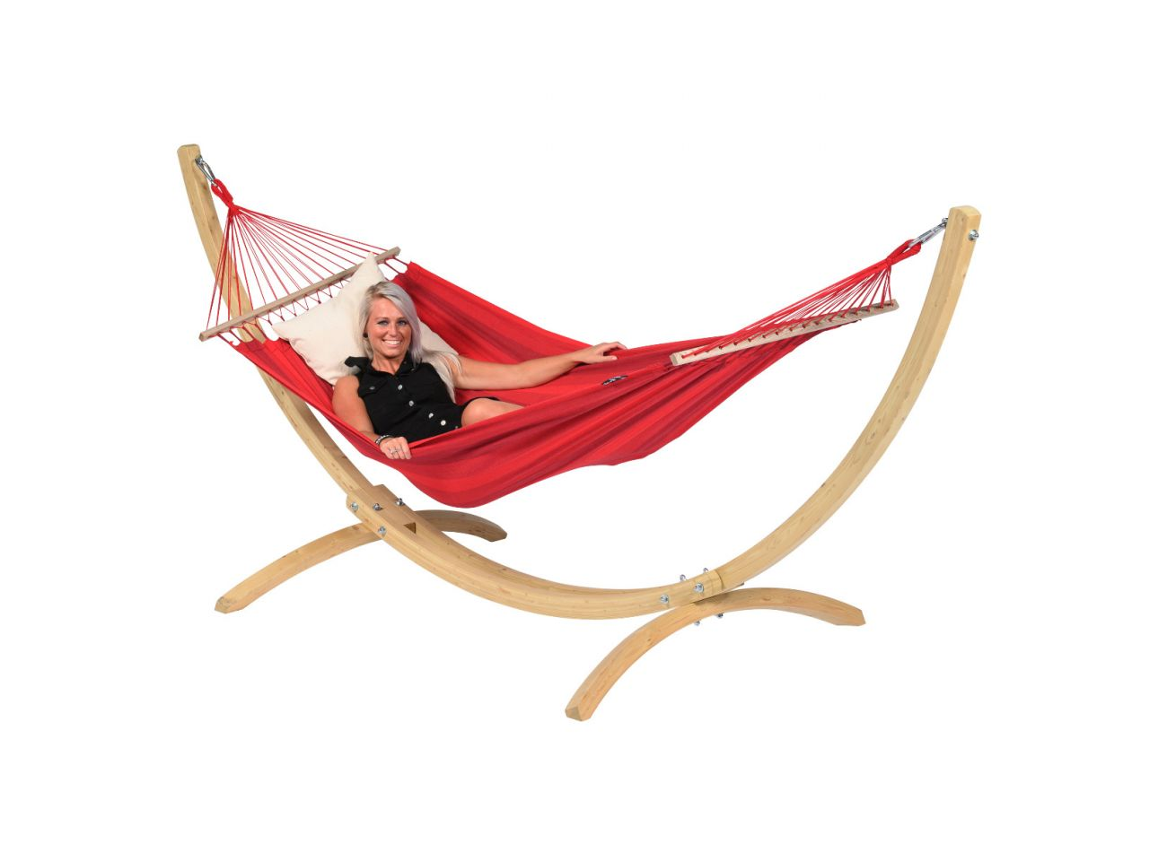 Hængekøje med Stativ til 1 person Wood & Relax Red